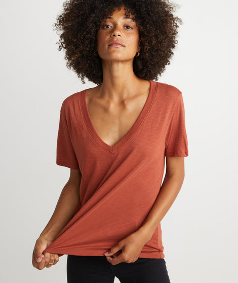 Boyfriend V-Neck in Brick Red