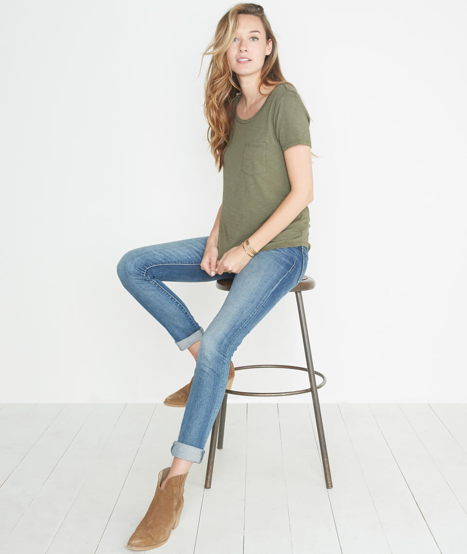 Boyfriend Pocket Tee in Admiral Green