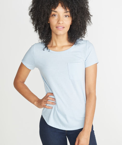 Boyfriend Pocket Tee in Carolina Blue