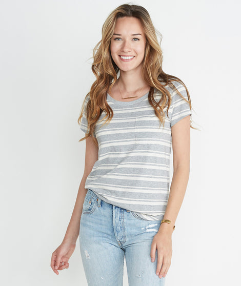 Boyfriend Pocket Tee in Heather Grey Stripe