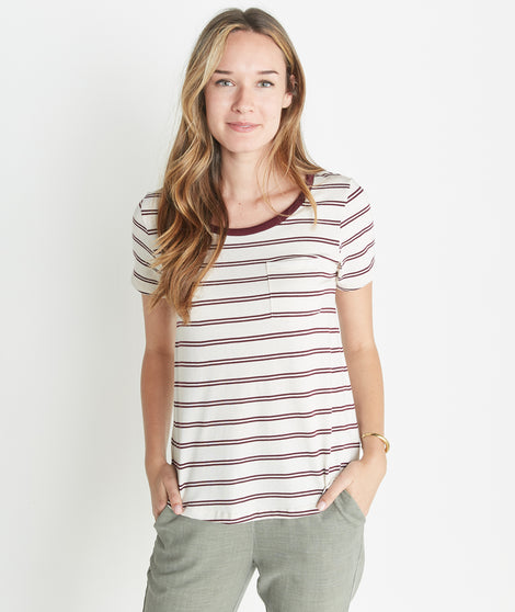 Boyfriend Pocket Tee in Merlot Stripe