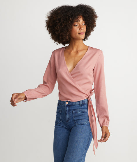 Carmen Wrap Top in Ash Rose