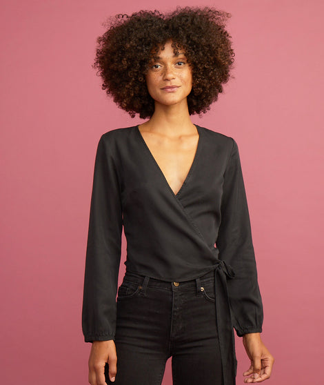 Carmen Wrap Top in Black