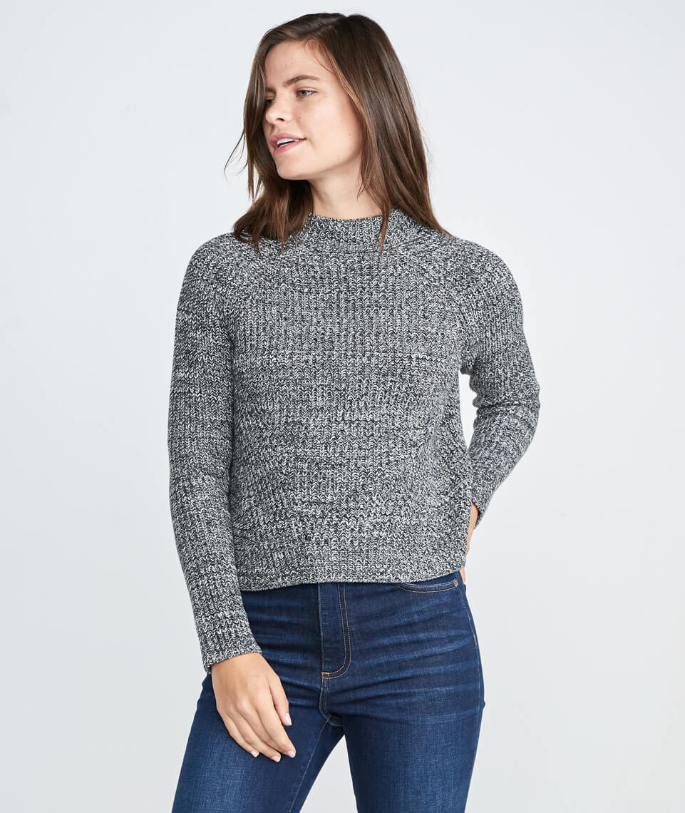 Cleo Mock Neck Sweater in Grey