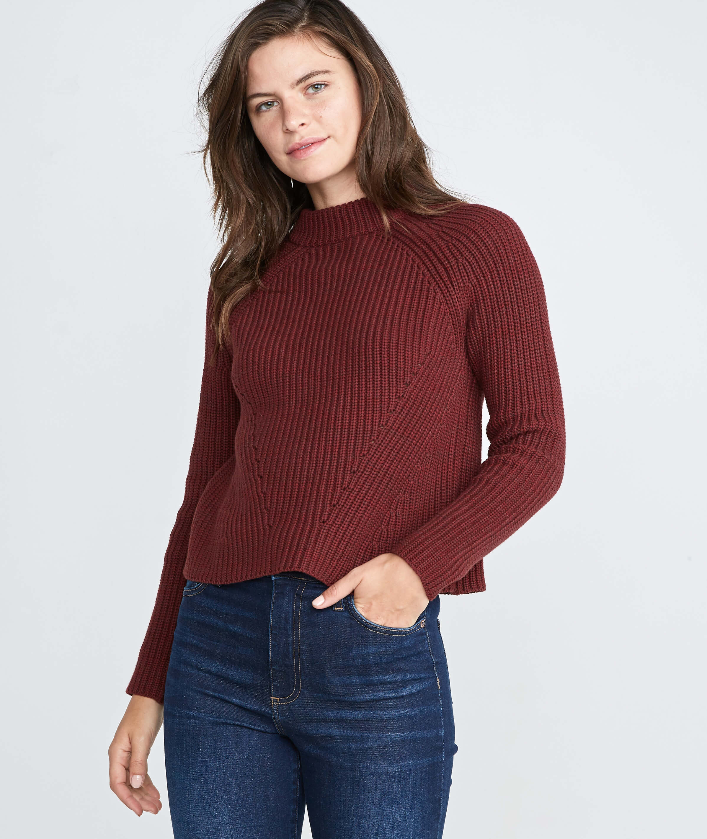 66414710fd5d Cleo Mock Neck Sweater in Rosewood – Marine Layer
