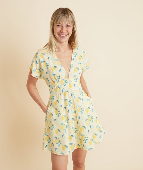 Camila Mini Dress in Light Yellow Lemon Print