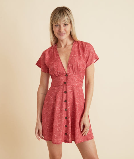 Camila Mini Dress in Red Ditsy Floral Print