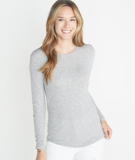 Clover Saddle Longsleeve in Grey/White Stripe