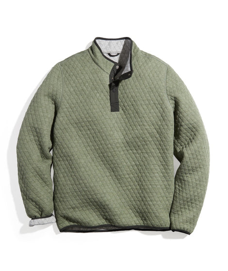 Corbet Reversible Pullover in Olive Heather/Light Grey Heather