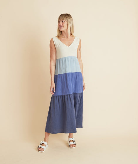 Corinne Maxi Dress in Blue Colorblock