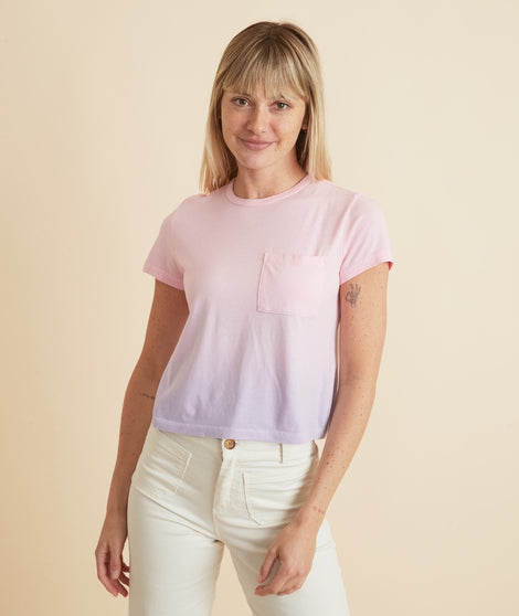 Crop Pocket Tee in Pink Ombre