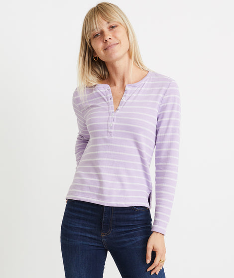 Double Knit Henley in Lavender/White Stripe