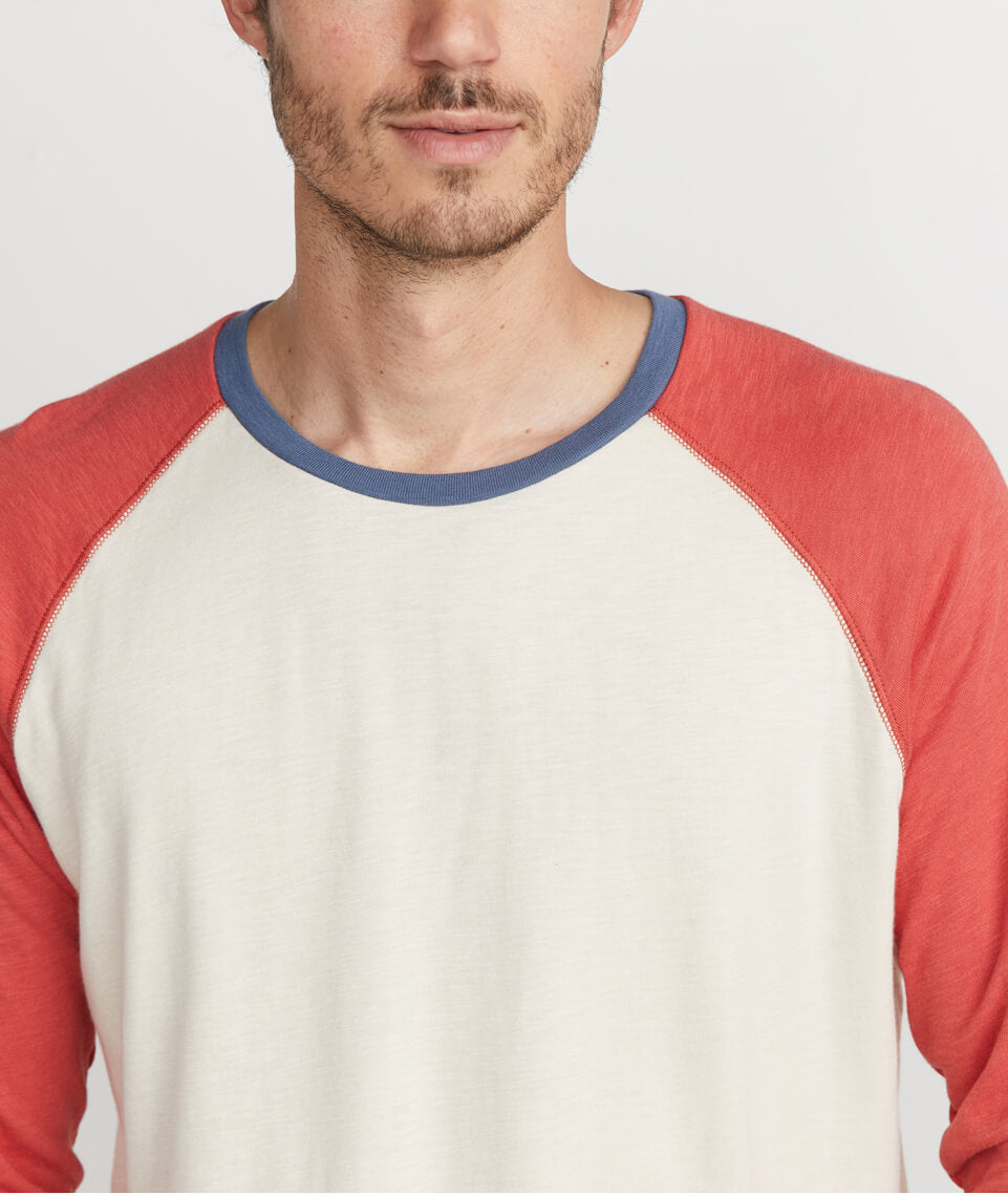 Double Knit Baseball Raglan in Antique White / Baked Apple