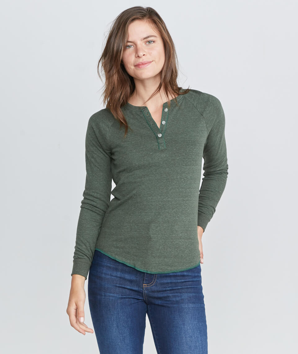 Double Knit Henley in Moss
