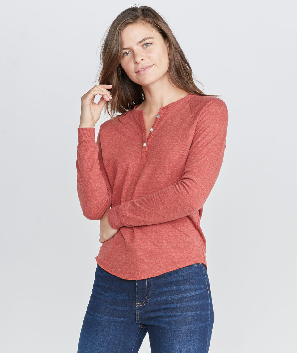 Double Knit Henley in Rosewood