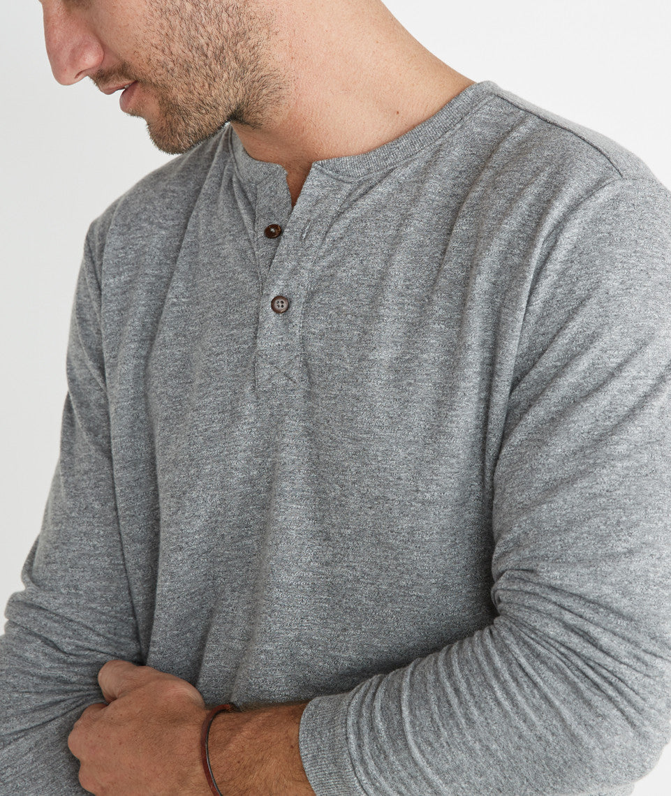 Double Knit Henley - Natural and Black