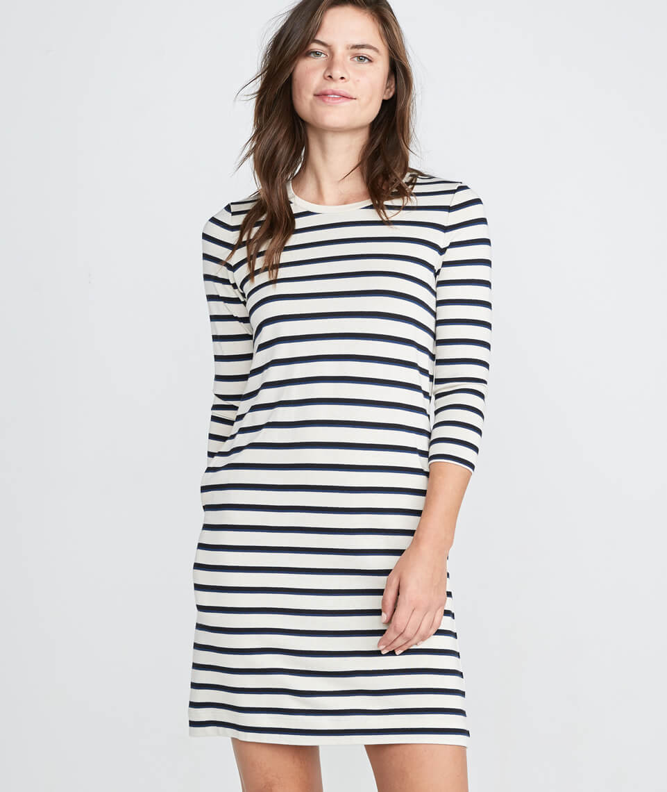 Gigi Dress in White/Navy/Black