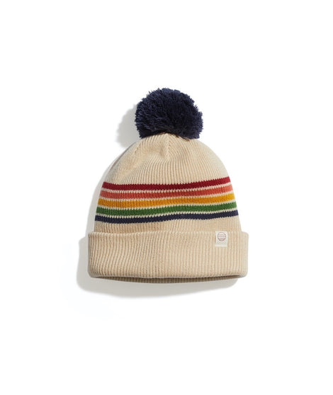 Glacier Pom Beanie in Tan/Multi Stripe