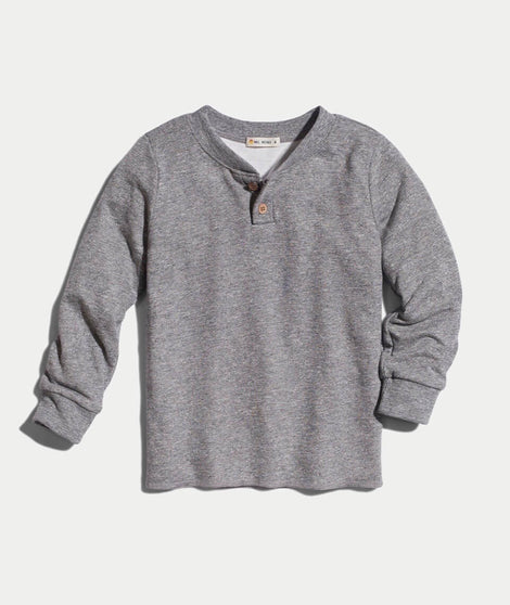 Mini Double Knit Henley In Heather Grey
