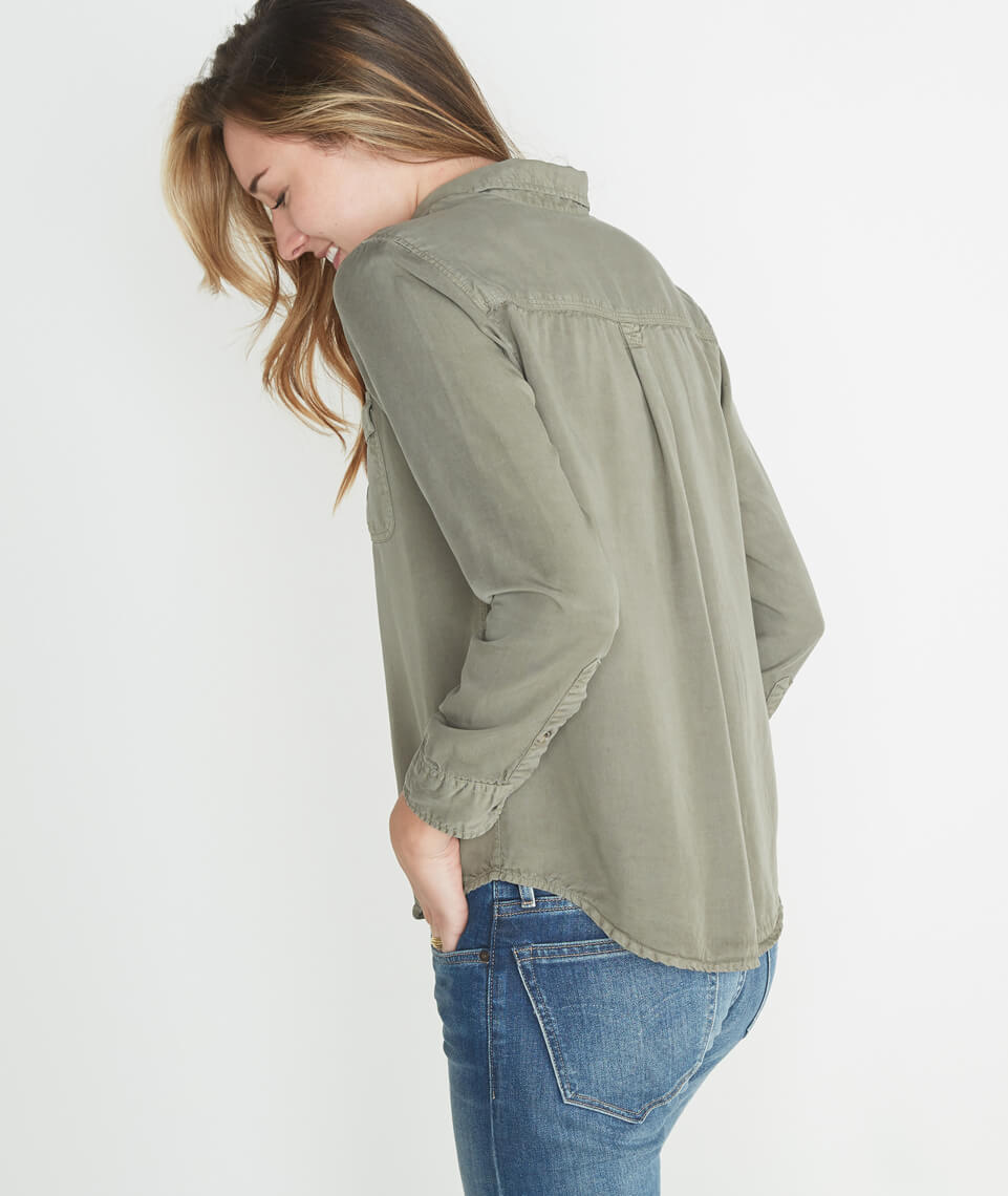 Hadley Button Down in Worn Olive