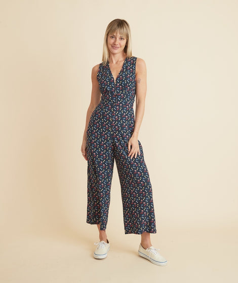 Holli Jumpsuit in Navy Cherry Print