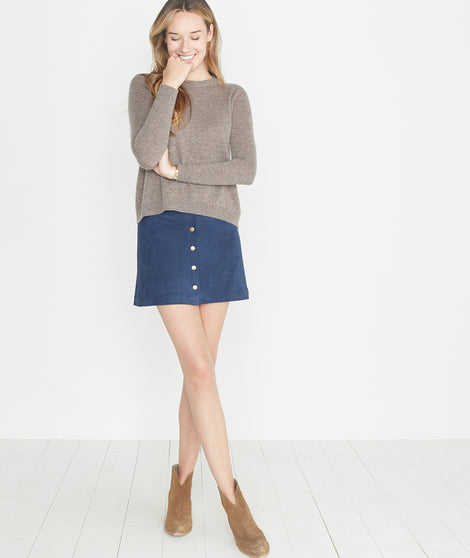 Rosie Suede A-Line Skirt in Mood Indigo