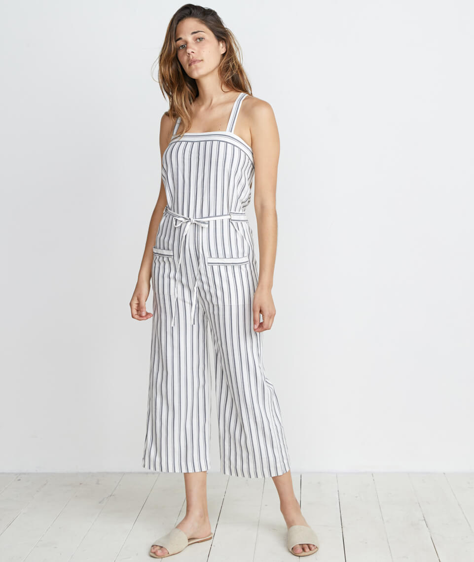 Juliette Jumpsuit in Ivory/Charcoal Stripe