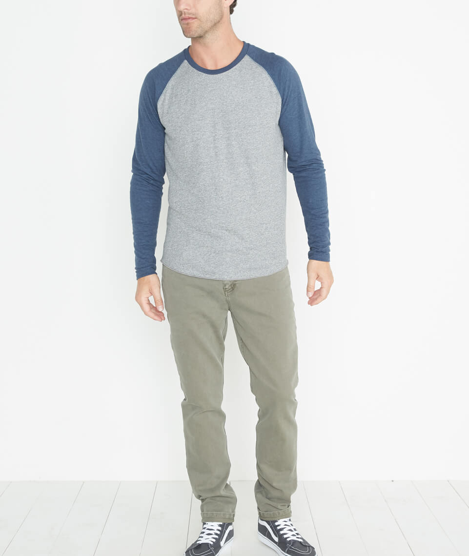 Double Knit Baseball Raglan in Heather Grey/Deep Denim