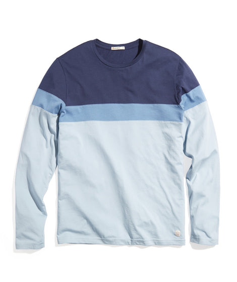 Jacob Crew Tee in Blue Ombre Stripe