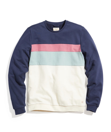 Jordan Crew Sweatshirt in Navy/Natural Colorblock