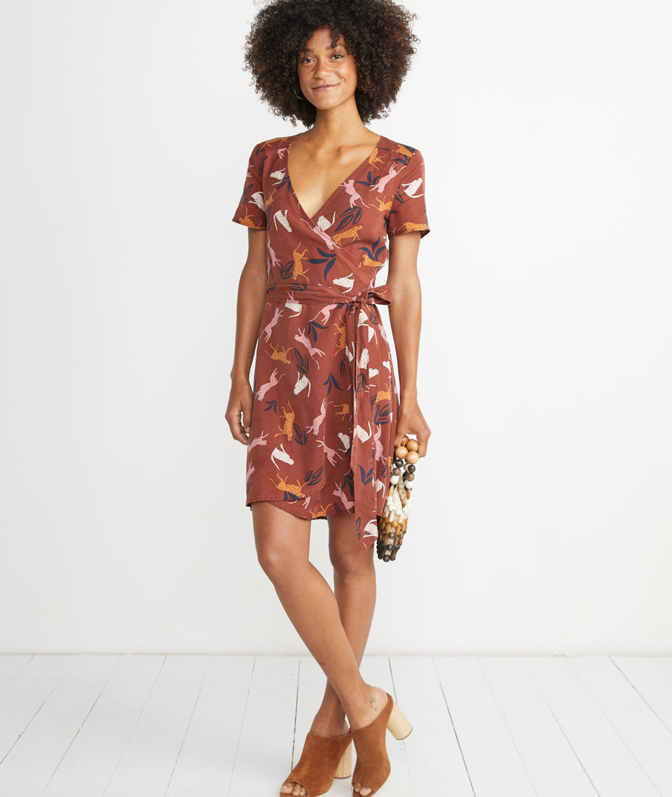 Lenora Wrap Dress in Henna Cheetah Print