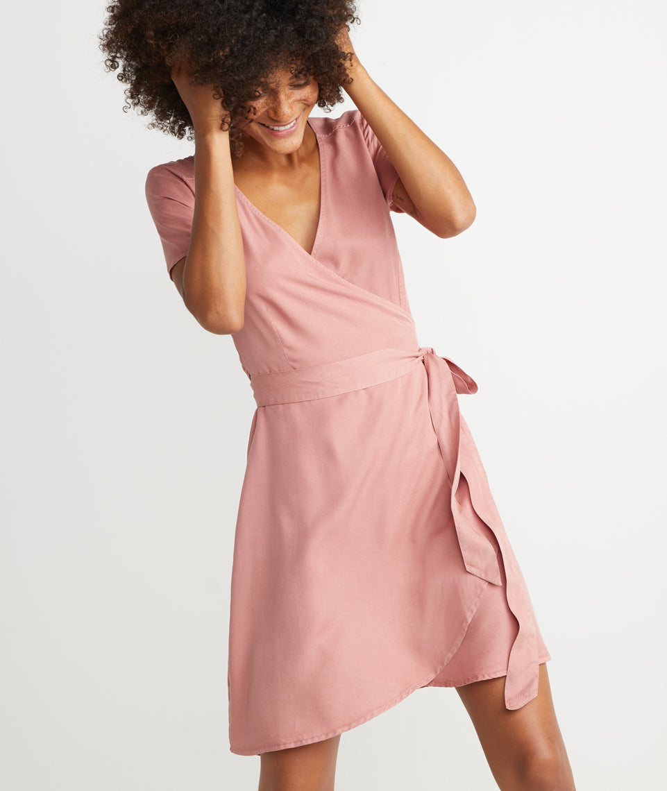 Lenora Wrap Dress in Ash Rose