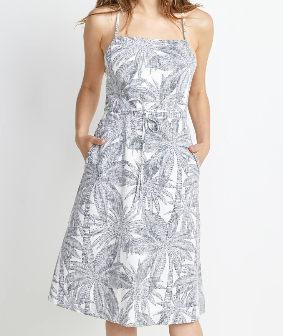 Lily Dress in Geo Palm Print