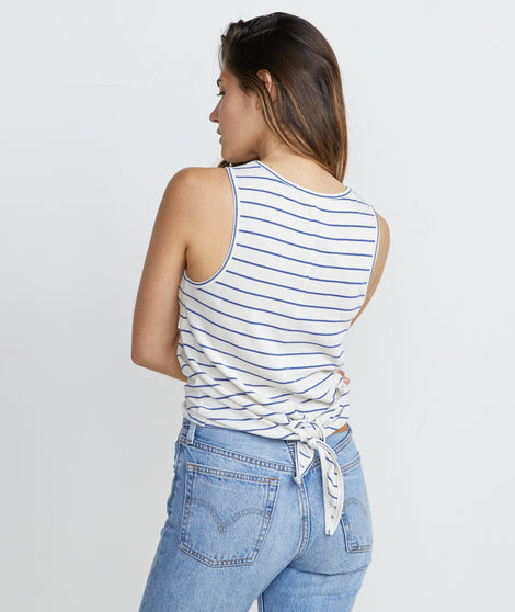 Lori Tie Back Tank in Marlin/White Stripe