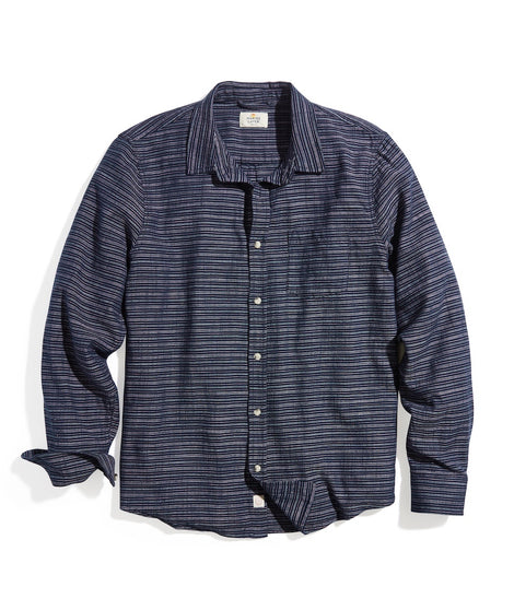 Classic Fit Selvage Shirt in Navy/Pink Stripe