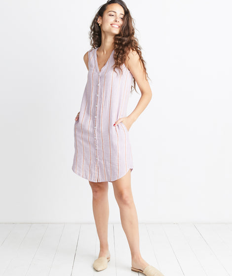 Lake Tank Dress in Lavender Stripe