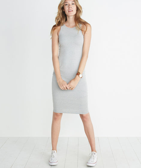 Lexi Midi Dress in Thin Grey/White Stripe