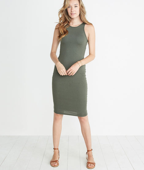 Lexi Midi Dress in Worn Olive