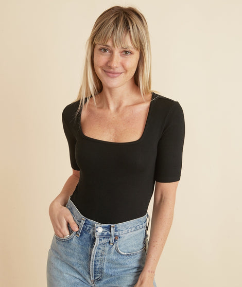 Lexi Rib Square Neck Top in Black