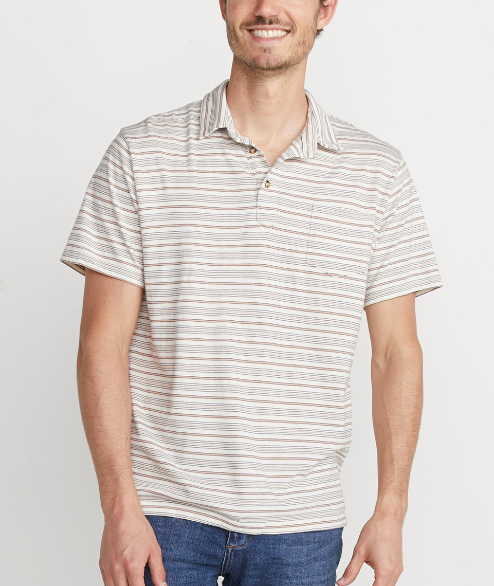 Malcolm Polo in Navy/Rose Stripe