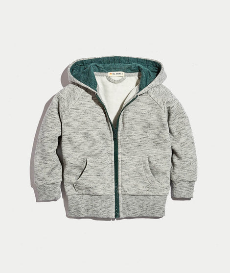 Mini Zip Hoodie in Heather Grey