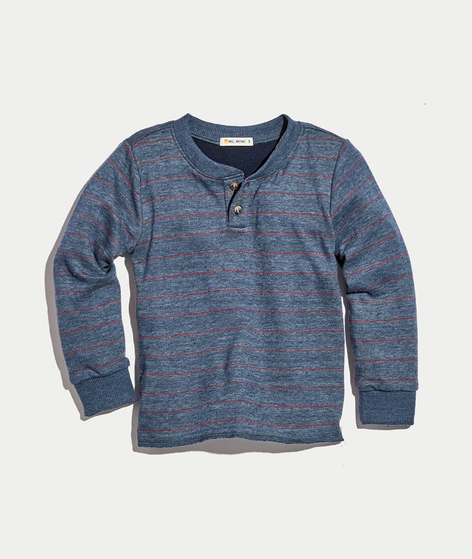 Mini Double Knit Henley in Dark Navy