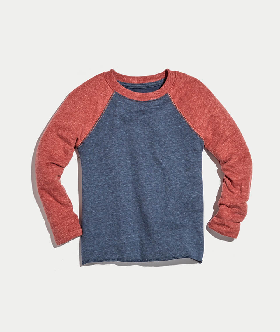 Mini Baseball Raglan in Red/Navy