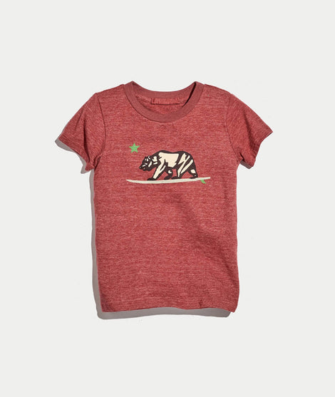 Mini Surfing Bear Graphic Tee in Rosewood