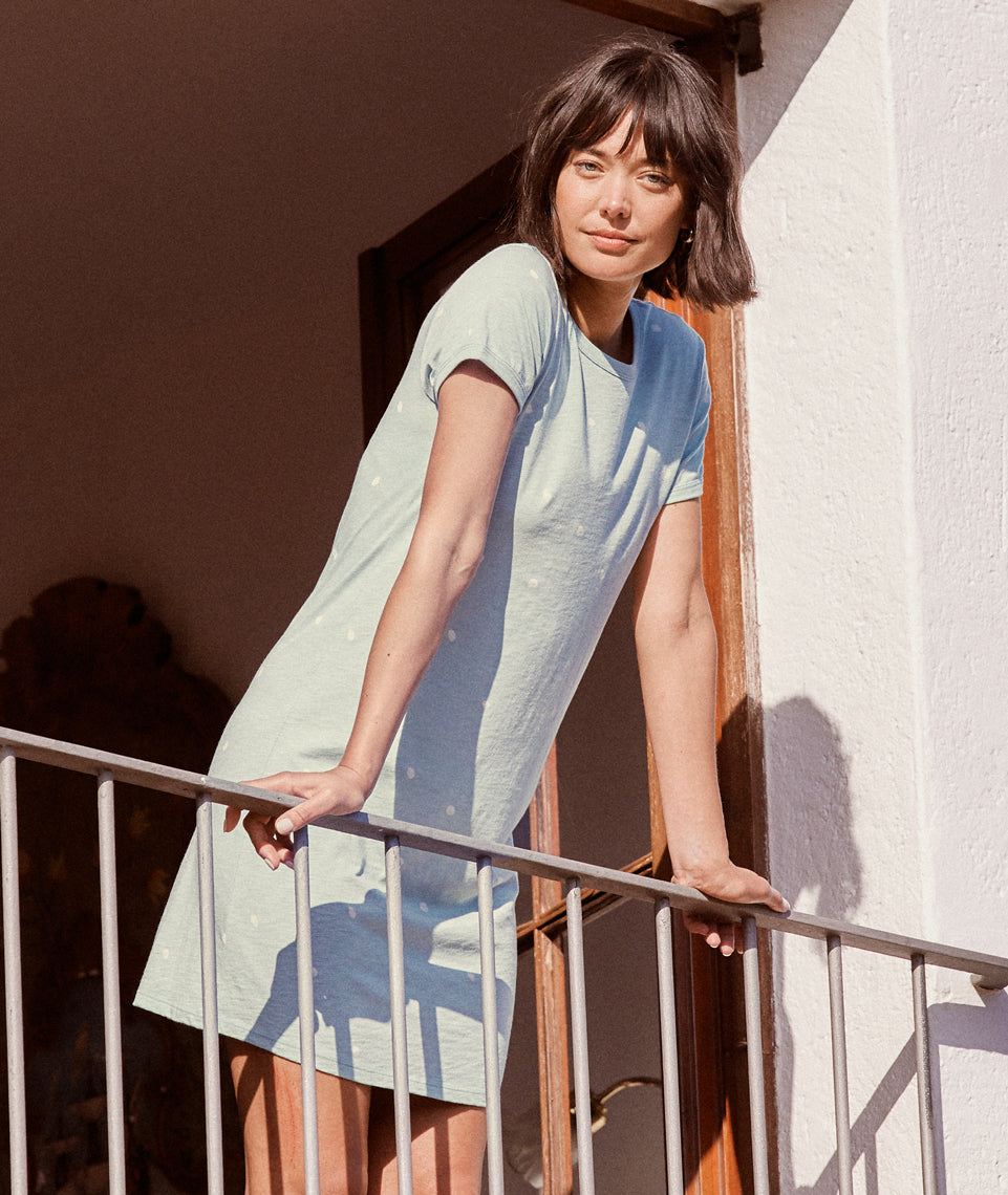 Reese T-Shirt Dress in Seafoam Dot