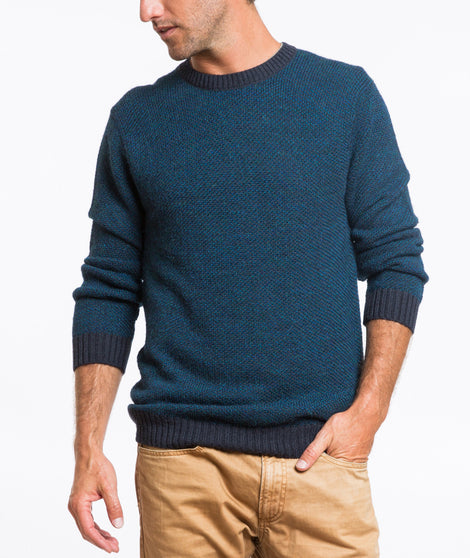 Gannet Crewneck Sweater - Navy and Teal