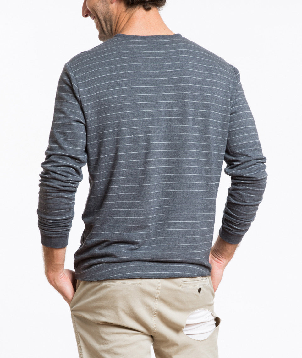 Double Knit Henley - Midnight Navy Stripe