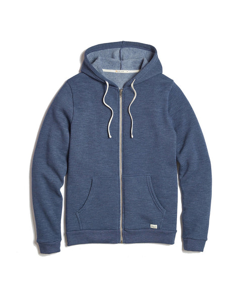 Men's Sherpa Zip Hoodie in Deep Denim