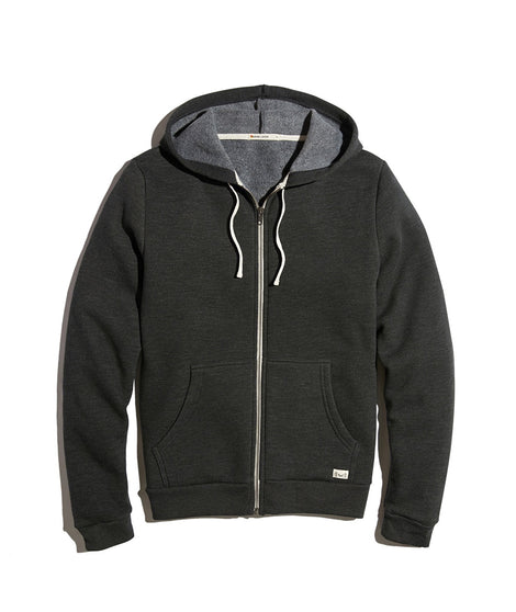 Men's Sherpa Zip Hoodie in Faded Black