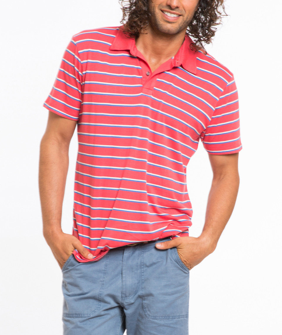 Benji Striped Polo - Red and Blue